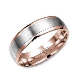 Crown Ring Chic (6mm) White & Rose Gold Band