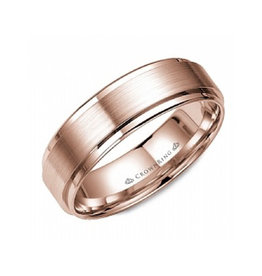 Crown Ring Crown Ring Rose Gold Beveled Flat 6mm Men's Wedding Band