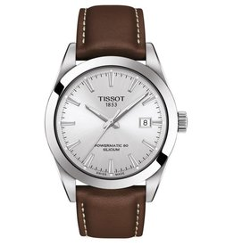 Tissot Tissot Powermatic 80 Silicium Mens Silver Tone Brown Leather Strap Watch