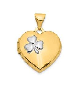 14K Yellow Gold Heart Clover Locket Pendant