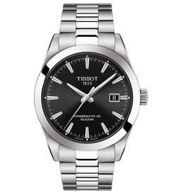 Tissot Tissot Powermatic 80 Silicium Mens Silver Tone Black Dial  Watch