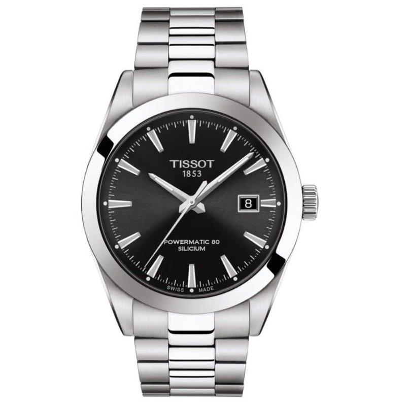 Tissot Tissot Powermatic 80 Silicium Mens Silver Tone Black Dial  Watch