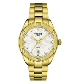 Tissot Tissot PR 100 Sport Chic Ladies Gold Tone Mother of Pearl and Diamond Dial Watch