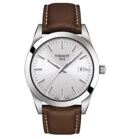 Tissot Tissot Mens Silver Tone Brown Leather Strap Watch