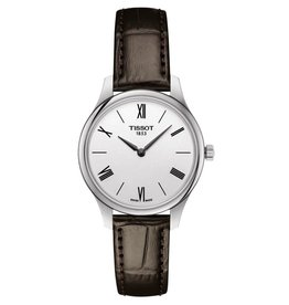 Tissot Tissot Tradition Ladies Silver Tone Brown Leather Strap Watch