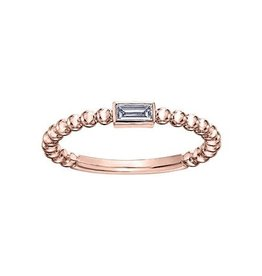 Rose Gold Baguette Diamond Stackable Ring (0.10ct)