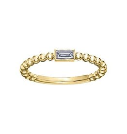 Yellow Gold Baguette Diamond Stackable Ring (0.10ct)