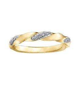 10K Yellow Gold (0.05ct) Diamond Stackable Wedding Band