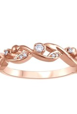 Fire and Ice 10K Rose Gold (0.06ct) Diamond and Canadian Diamond Stackable Band