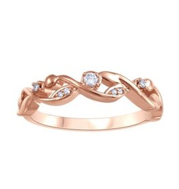 Fire and Ice Rose Gold (0.064ct) Diamond and Canadian Diamond Stackable Band