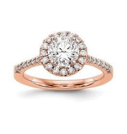 14K Rose Gold Round Halo (0.78ct) Lab Grown Diamond Engagement Ring