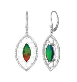 Korite Korite Camilla Ammolite Sterling Silver Dangle Earrings with Sapphires