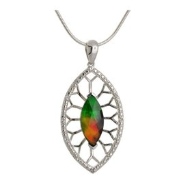 Korite Korite Camilla Ammolite Sterling Silver with White Sapphires Pendant