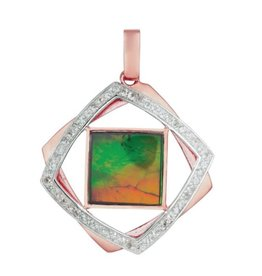Korite Korite Primrose Ammolite Sterling Silver & Rose Plated Pendant with Sapphires