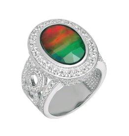 Korite Korite Laila Ammolite Sterling Silver Ring with Topaz