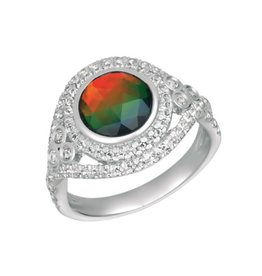 Korite Korite Ivana Ammolite Sterling Silver Halo Ring with Topaz