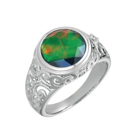 Korite Korite Mohini Ammolite Sterling Silver Ring with Topaz