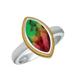 Korite Korite Hazel Ammolite Two Tone Sterling Silver with Gold Plating Ring