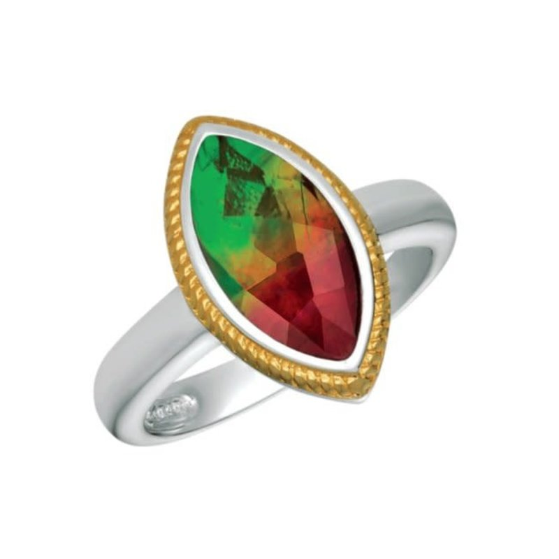 Korite Korite Hazel Ammolite Sterling Silver and Gold plated Ring