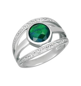 Korite Korite Pippa Ammolite Ladies Sterling Silver Openwork Topaz Ring