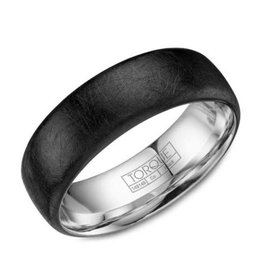 Torque Torque Diamond Brushed Finish (6mm) Black Cobalt Mens Ring Band