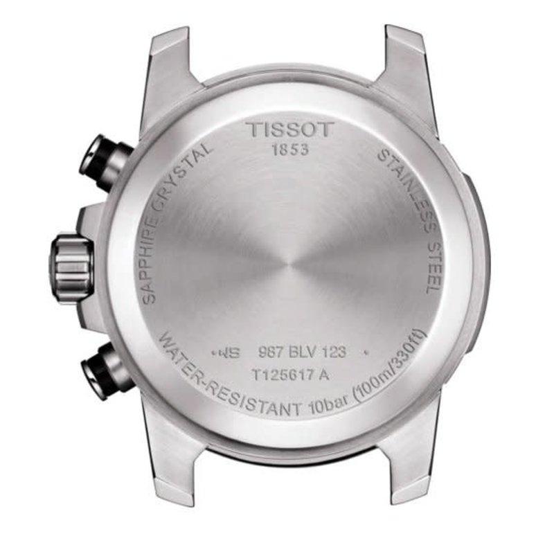 Tissot Tissot Supersport Chrono Mens Silver Tone Black Leather Strap Watch