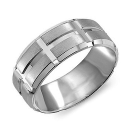 Crown Ring White Gold (8mm) Sandblast & High Polished Men's Band (10K, 14K ,18K)