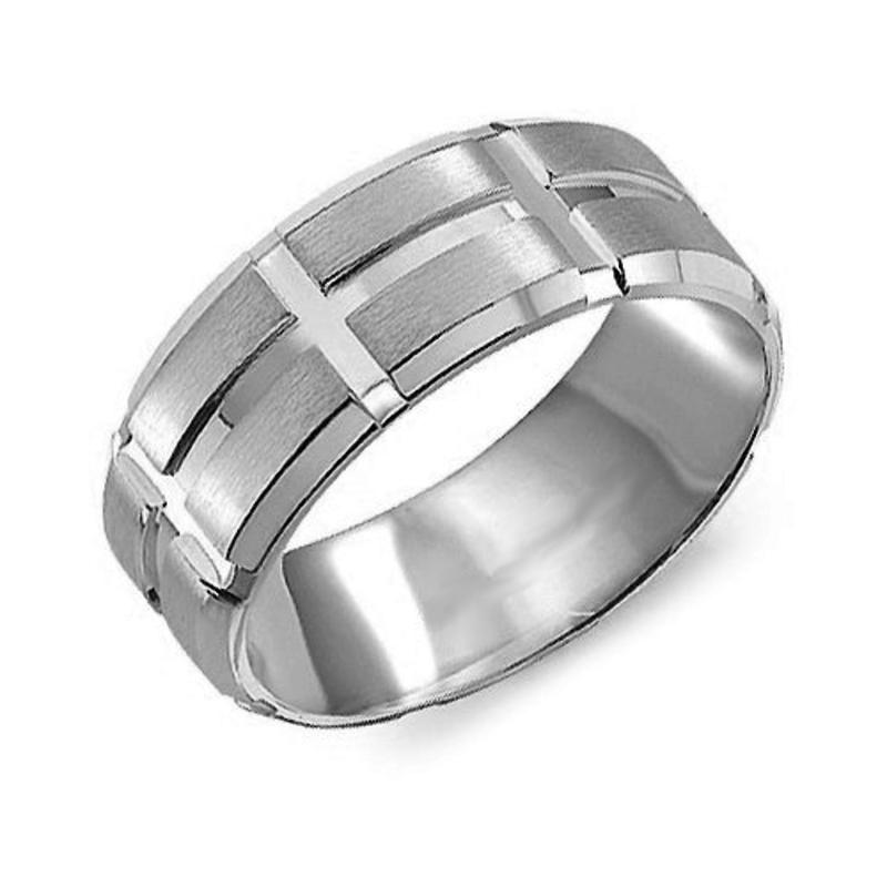Crown Ring White Gold (8mm) Sandblast & High Polished Men's Band (10K, 14K ,18K)