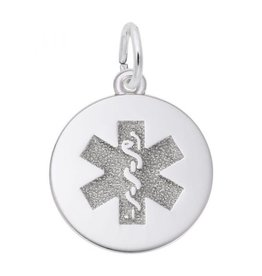 Nuco Silver Medical Alert Charm Pendant (Large)