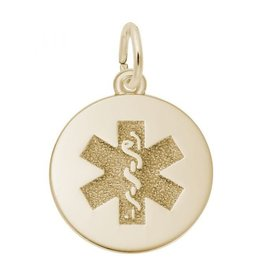Sterling Silver Yellow Gold Plated Medical Symbol Pendant Charm