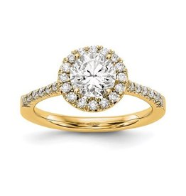 Lab Grown 14K Yellow Gold Round Halo (0.78ct) Lab Grown Diamond Engagement Ring