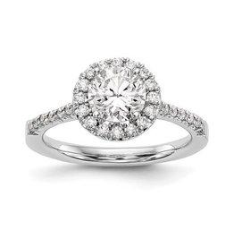 14K White Gold Round Halo (0.78ct) Lab Grown Diamond Engagement Ring