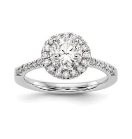 Lab Grown 14K White Gold Round Halo (0.78ct) Lab Grown Diamond Engagement Ring