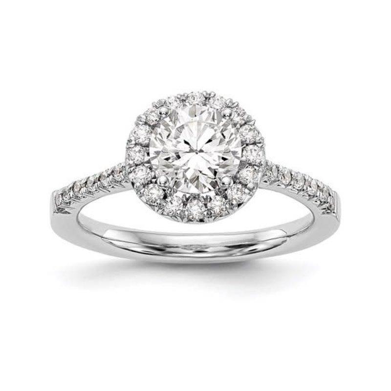 Lab Grown 14K White Gold Round Halo (0.78ct) Lab Grown Diamond Engagement Ring