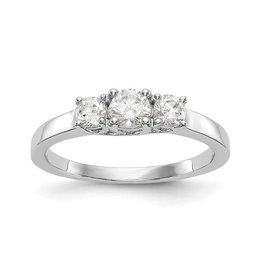 Lab Grown 14K White Gold 3 Stone (0.54ct) Lab Grown Diamond Engagement Ring