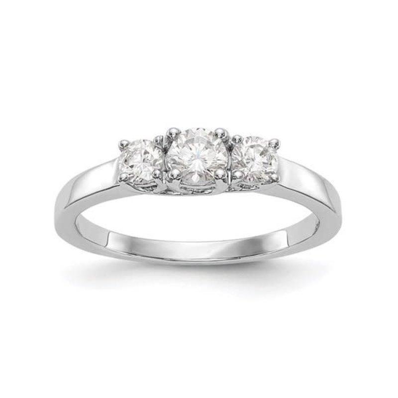 Lab Grown 14K White Gold 3 Stone (0.54ct) Lab Grown Diamond Engagement Ring