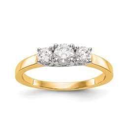 14K Two Tone Yellow & White Gold 3 Stone (0.54ct) Lab Grown Diamond Engagement Ring