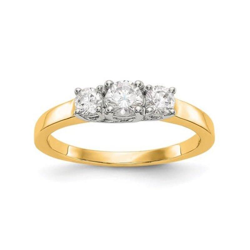 Lab Grown 14K Two Tone Yellow & White Gold 3 Stone (0.54ct) Lab Grown Diamond Engagement Ring
