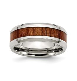 Steel Polished Red/Orange Wood Inlay Enamel Ring