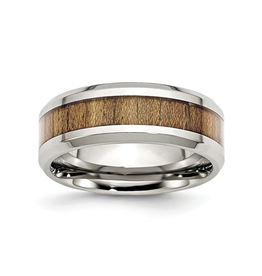 Steel Polished Wood Inlay Enamel Ring