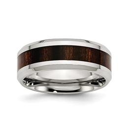 Steel Polished Black Wood Inlay Enamel Ring