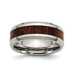Steel Polished Brown Wood Inlay Enamel Ring
