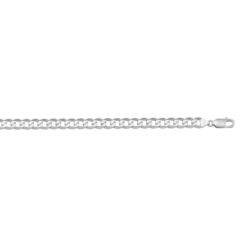 14K White Gold (4.5mm) Mens Curb Bracelet 8""