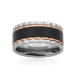 Steelx Steelx Stainless Steel Spinning Ring with Black and Rose Ion Plating