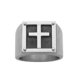Steelx Steelx Stainless Steel Matte Signet Cross Ring