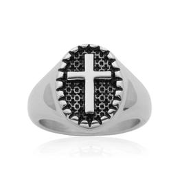 Steelx Steel Cross Ring with Black Enamel