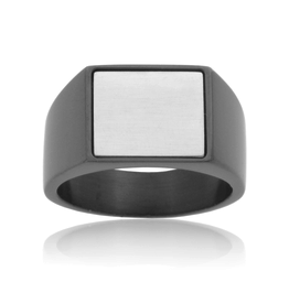 Steelx Steel Two Tone  Black Signet Ring