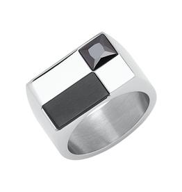 Steelx Steel Black IP CZ Ring