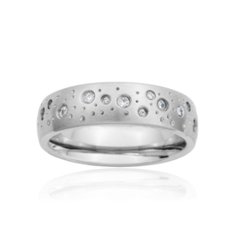 Steelx Steel Matte Finish Sky Ring with CZ