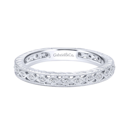Gabriel & Co Gabriel & Co 14K White Gold Intricate Cutout Stackable Diamond Ring